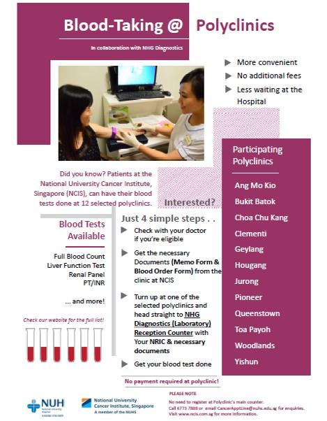 Blood-taking @ Polyclinics - NCIS | National University Cancer